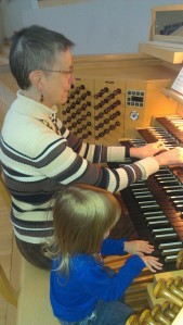 Helping Grandma play the Daily Prayer for Peace