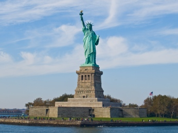 Statue of Liberty seen from the Circle Line ferry, Manhattan, New York