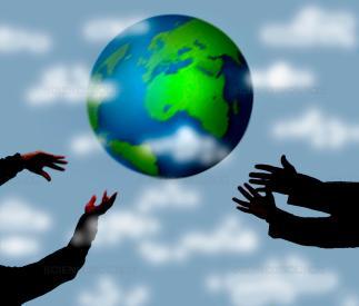 hands throwing globe